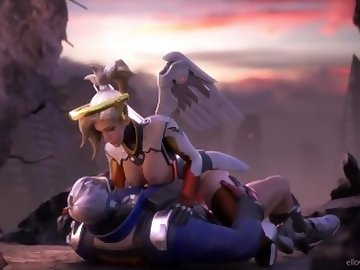 Overwatch Porn, mercy, overwatch, 3d, video, game, sfm, blonde, cartoon