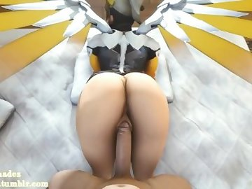 Overwatch Porn, butt, overwatch, mercy, video, game, sfm, animation, hentai, pov, ass, dick, cartoon, 60fps, overwatch