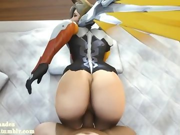 Overwatch Porn, butt, overwatch, mercy, video, game, sfm, animation, hentai, pov, ass, dick, cartoon, 60fps