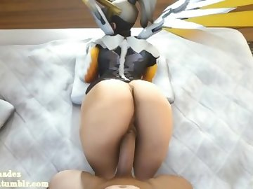 Overwatch Porn, butt, overwatch, mercy, video, game, sfm, animation, hentai, pov, ass, dick, cartoon, 60fps