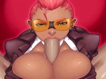 Street Fighter Hentai, boobs, cartoon, redhead, crimsom, viper, street, fighter, tits, blowjob, red, head, street fighter