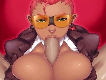 Street Fighter Hentai, boobs, cartoon, redhead, crimsom, viper, street, fighter, tits, blowjob, red, head