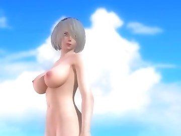 Dead or Alive Hentai, hentai, cartoon, 60fps, anime, nier, automata, 2b