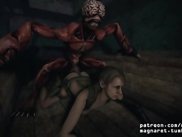 Resident Evil Porn, ass, fuck, cock, 3d, animation, sfm, resident, evil, mgs, quiet, mgsv, monster, anal, dick, cartoon, parody