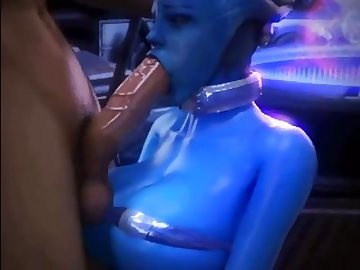 Mass Effect Hentai, mass, effect, liara, blowjob, deepthroat, tits, cartoon