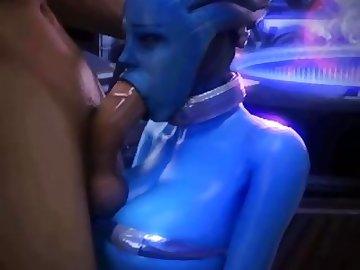 Mass Effect Hentai, mass, effect, liara, blowjob, deepthroat, tits, cartoon
