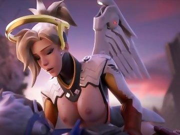 Overwatch Porn, overwatch, cowgirl, cum, tits, blonde, anal, cartoon, overwatch