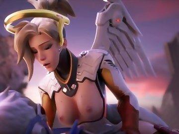 Overwatch Porn, overwatch, cowgirl, cum, tits, blonde, anal, cartoon