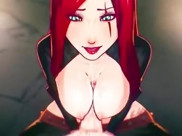 League of Legends Hentai, anime, bobjob, blowjob, cumshot, cartoon, cosplay