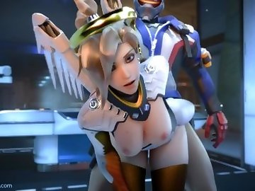Overwatch Porn, mercy, overwatch, 3d, sfm, video, game, blonde, cartoon
