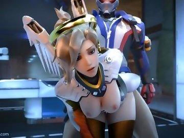 Overwatch Porn, mercy, overwatch, 3d, sfm, video, game, blonde, cartoon, overwatch