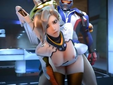 Overwatch Porn, mercy, overwatch, 3d, sfm, video, game, blonde, cartoon, overwatch