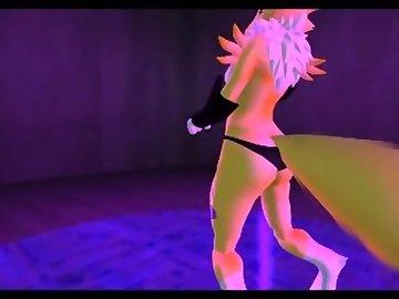 Digimon Hentai, anime, 3d, renamon, digimon, ass, breasts, pussy, pole, dance, furry, cartoon