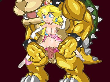 swf, monster, mario, hentai, hairstyle, hairsty, stretching, bowser, super mario bros., blonde, big cock, blowjob, princess peach, oral, cumshot