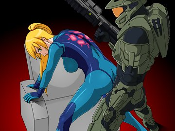 swf, pussy, nintendo, doggystyle, pinoytoons, loop, hentai, doggy style, future, gun, catsuit, armor, master chief, from behind, halo, metroid, blonde, samus aran