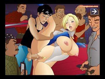 swf, parody, double pentetration, big boobs, pussy, superhero, halloween, gangbang, power girl, cumshot, creampie