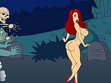 swf, hentai, big boobs, monste, graveyard, halloween, cemetery, nude, redhead, big cock