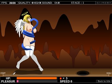 swf, hentai, runner, side scroller, blonde, big tits, masturbation, angel, tentacles