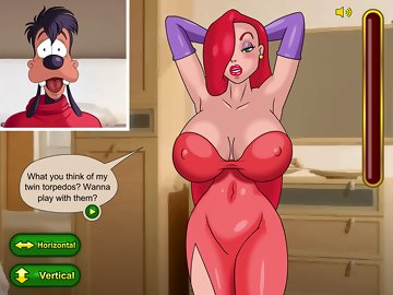 swf, jessica rabbit, max goof, big cock, who framed roger rabbit, goof troop, hentai, big boobs, parody, minigame, humor