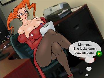 swf, minigame, humor, hentai, principal, redhead, big tits, blowjob, milf