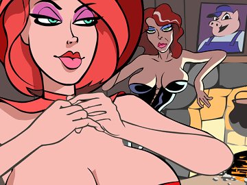 swf, funny, parody, joke, fairy tale, hentai, red riding hood, redhead, big tits