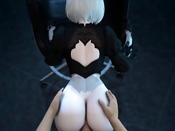 Nier: Automata Hentai, cum in mouth, double penetration, nier 2b, blindfold, leather boots, stockings, hentai, blender, sfm, android, 2b, nier automata, butt, point of view, anime, ass fuck, pov, hd porn, creampie, compilation, cartoon, big ass, anal