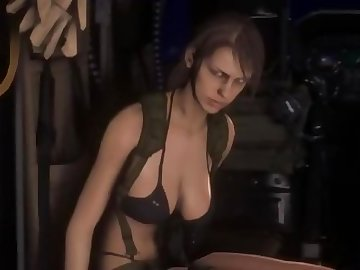 Metal Gear Porn, big tits, riding, sexy, game, video, babe, tits, cartoon, solid, gear, metal, quiet, creampie, boobs