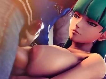 Darkstalkers Hentai, cartoon, threesome, blowjob, big tits, werewolf, jocks, aensland, morrigan