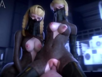 Nier: Automata Hentai, cowgirl, big cock, tit fuck, 3some, nier automata, 3d, big boobs, anime, threesome, pov, hentai, hd porn, creampie, blonde, big tits